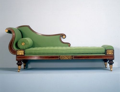 Green Gold Brown Chaise Vintage Sofa Classic Furniture Furniture