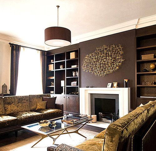 Chocolate Brown With Deep Gold Metallics Bring A Nice Warm Ambiance To A Living  Room.