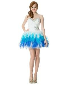 Blue and white short corset puffy prom dresses - formal prom poofy ...
