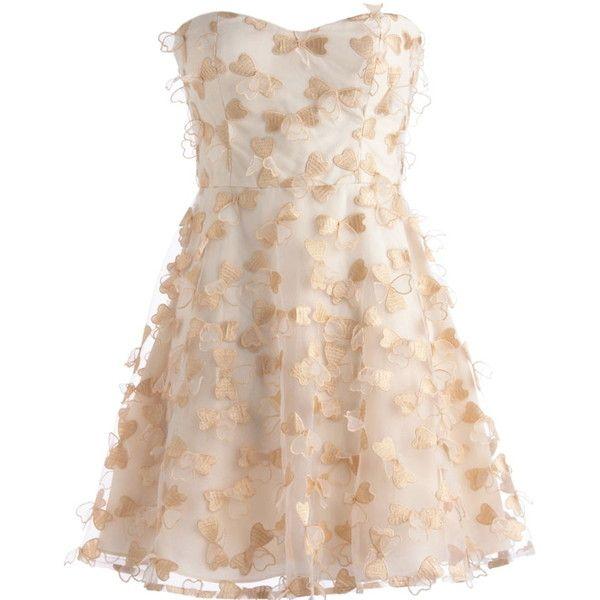 Opulent Organza Dress (400 BRL) ❤ liked on Polyvore featuring dresses, vestidos, short dresses, robes, sweetheart cocktail dresses, beige dress, beige cocktail dress and short flare dress