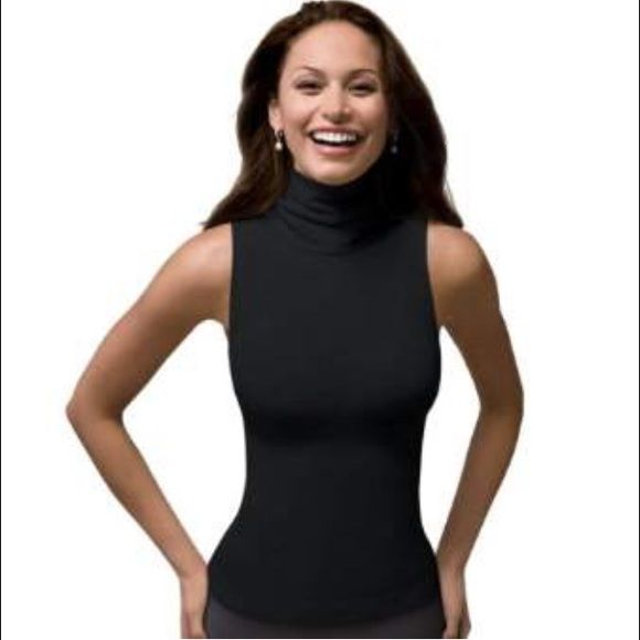 Spanx on topin control chic sleeveless turtle neck Description Stay on top of the latest shapewear trend with slimming shirts that wow your wardrobe! On Top and In Control show off your shape and can be worn with everything from jeans to high-waisted skirts! This versatile fashion staple instantly takes your look from so-so to so-fabulous.  Velvety soft finish with a hint of shine  LOVE that: You'll love these shaping shirts that can be layered or worn on top  62% Nylon and 38%…