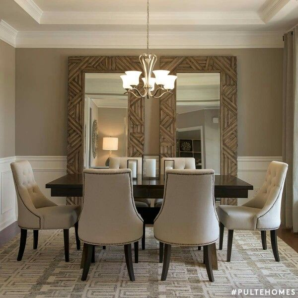 Large Mirrors In Dining Room Nice Idea For A Room That Feels A Bit Closed Off Mirror Dining Room Luxury Dining Room Dining Room Wall Decor