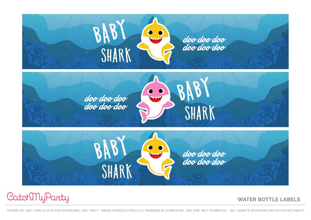 DIGITAL Download Shark Theme Water Bottle Label Printables