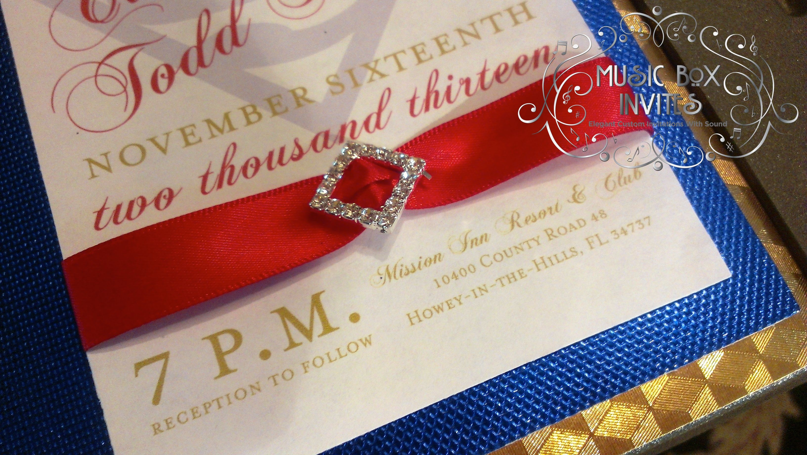 Red White And Blue Musical Wedding Invitation Themed For Superman With Belly Band Crystal Charm Layers