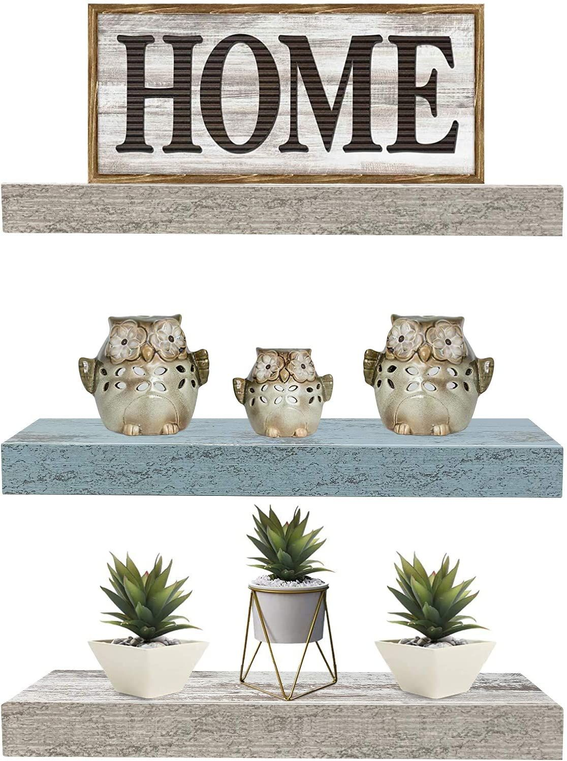 Floating Shelf Set Rustic Wood Hanging Rectangle Wall Shelves for Home Décor