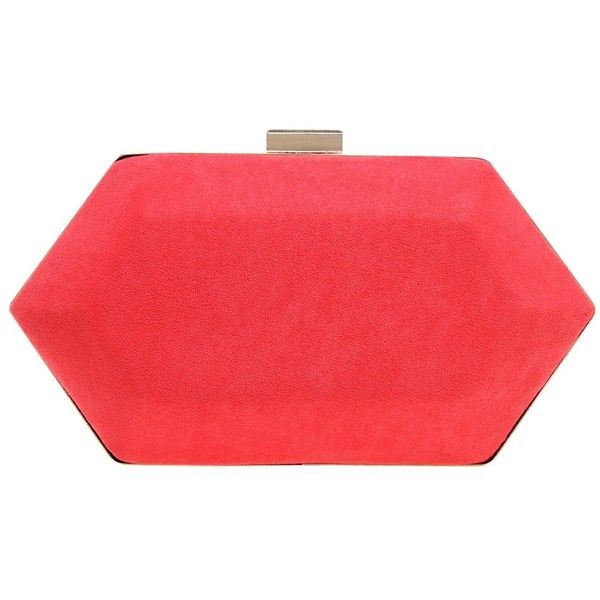Miss KG Jewel Box Clutch Bag , Salmon Pink (825830 BYR) ❤ liked on Polyvore featuring bags, handbags, clutches, salmon pink, evening purse, pink hand bags, red evening purse, red box clutch and red purse