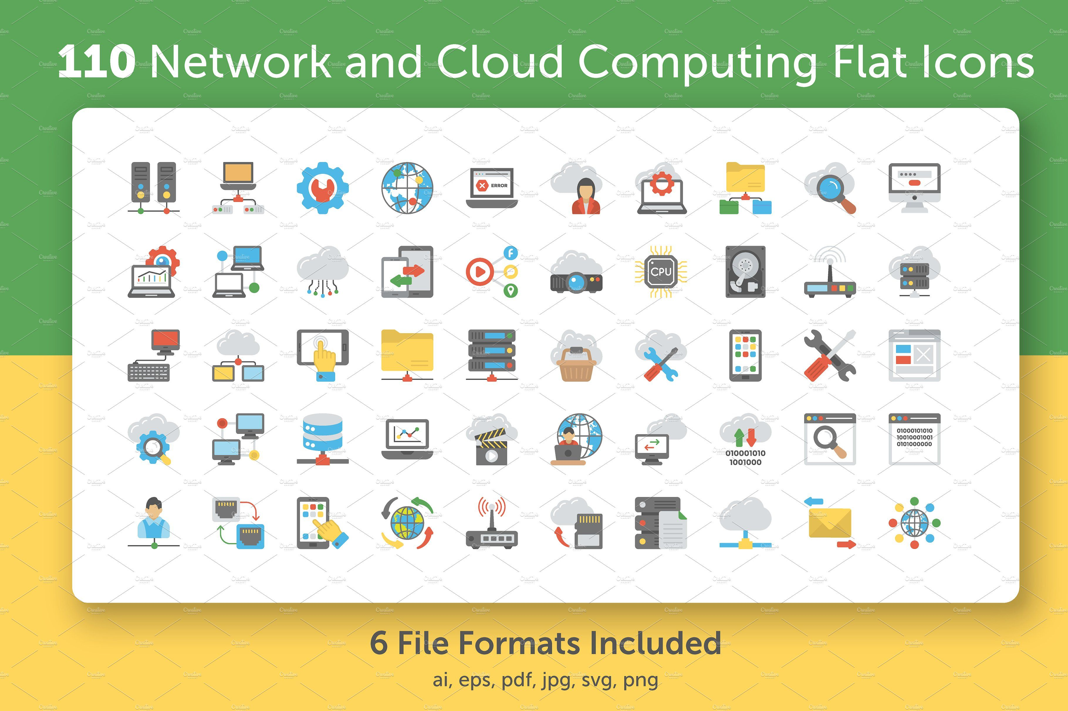 Network and Cloud Computing Icons Ad , ad, industries