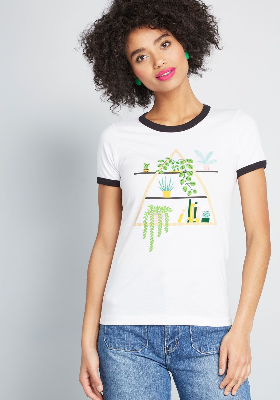 a714a971ec Succulent Shelf Ringer Tee - This white graphic tee flaunts a serene  decorating scheme with potted