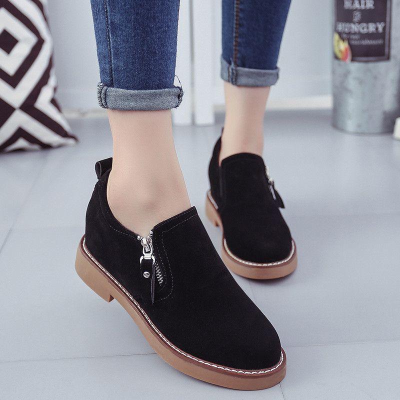 074e1833388 Low heel side zip suede loafers