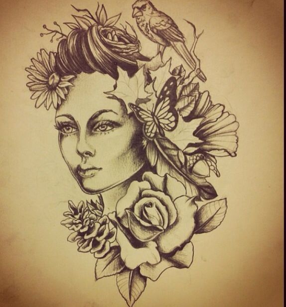 Mother Nature Tattoos: Mother Nature Tattoo Idea Illustration