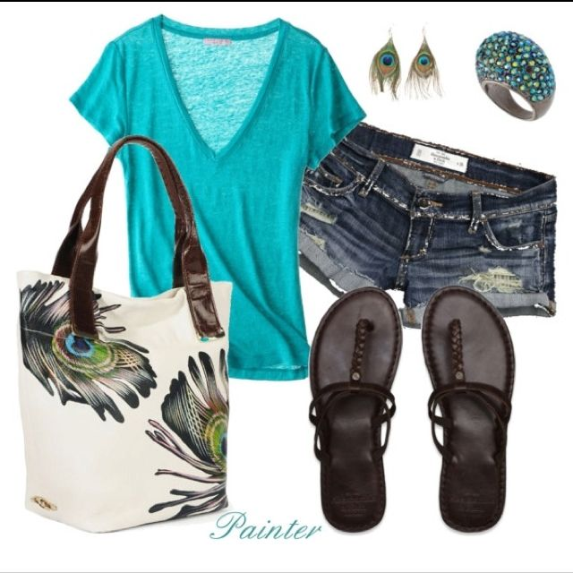 summer outfit in turquoise