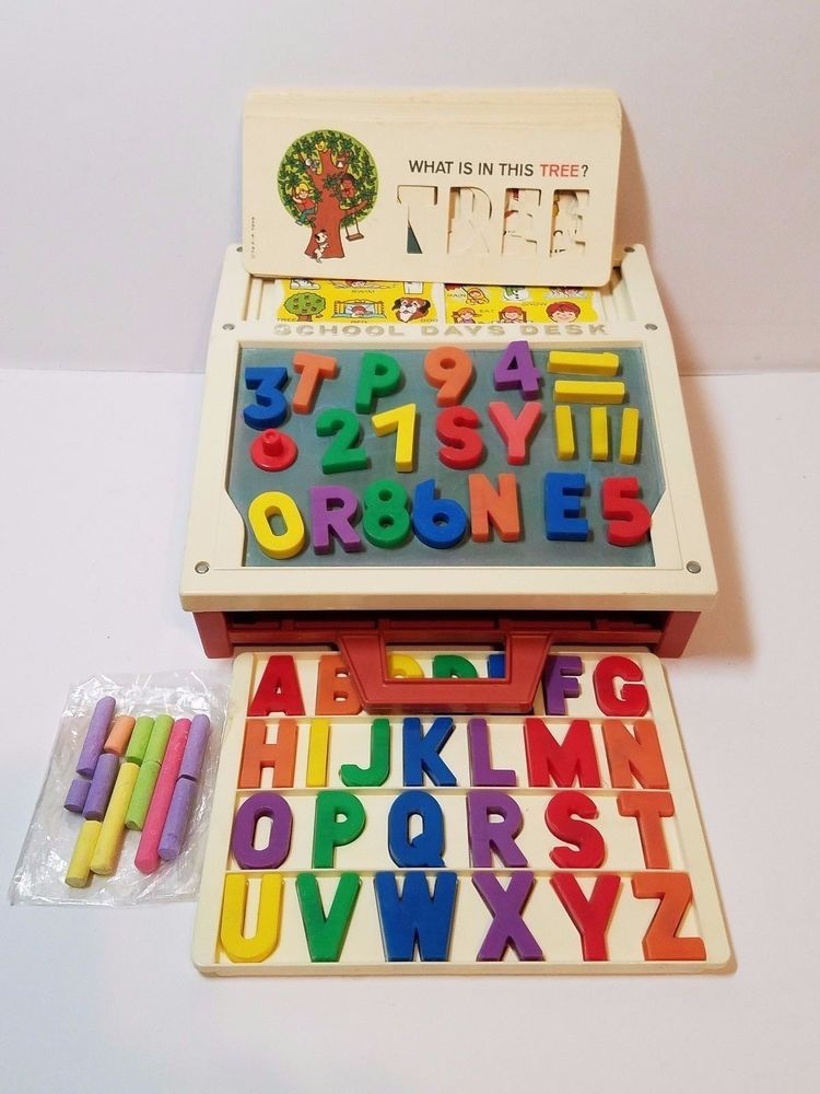 Vintage 1972 Fisher Price Play Desk Magnetic Letter Number Chalkboard Stencil Fisherprice Chalkboard Stencils Magnetic Letters Stencils