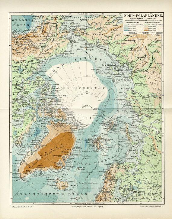 Arktische North Pole Antike Karte C 1906 Von Antiqueprintboutique