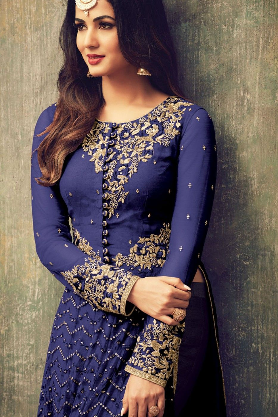 4d7288b0e4 Blue Color Net Fabric Embroidered Bollywood Designer Straight Cut Sonal  Chauhan Heavy pant Style Salwar Kameez