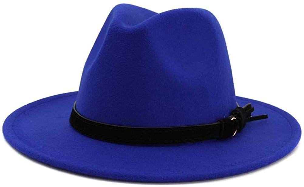 BaZhuaYu Women Men Wide Brim Fedora Hat Classic Panama Hat with Rivet Belt