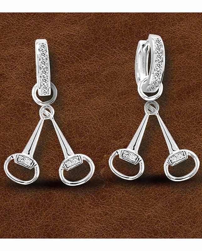 Snaffle Bit Earrings, Sterling Silver with CZ Diamonds.