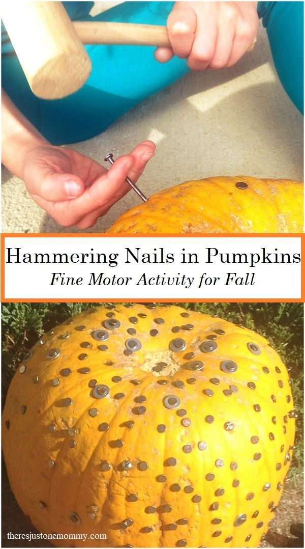 Pumpkin Activity Hammering Nails in Pumpkins is part of Simple Kids Crafts Fun Activities - Looking for a fun pumpkin activity for kids  Hammering nails in pumpkins is a great fine motor activity and it provides proprioceptive sensory input, too!