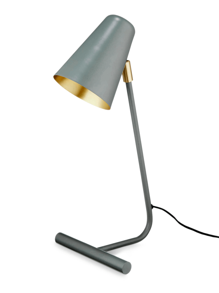 With A Sleek Modern Shape And Conical Shade Our Stylish Grey Green Desk Lamp Has Brass Fixtures And Inner Shade For A Un With Images Desk Lamp Lamp Luxury Lamps