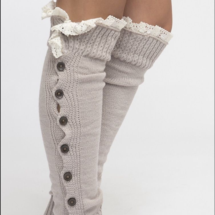 Button And Lace Legwarmers
