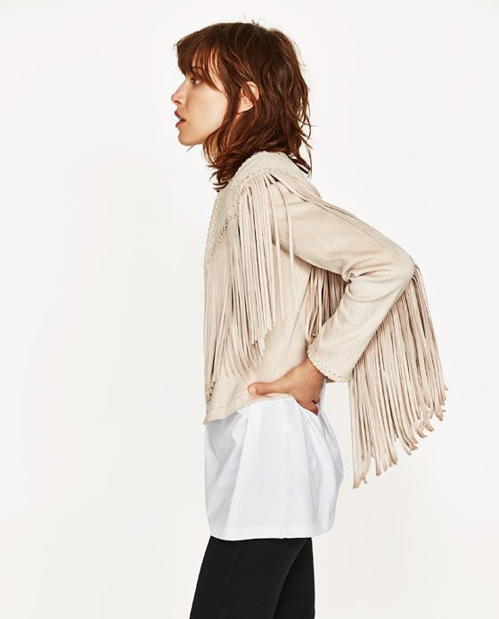 Suede Schoudertas Franjes : Image of faux suede jacket with fringe from zara