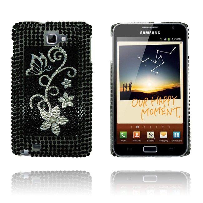 Paris (Black – Silver Flower) Samsung Galaxy Note Bling Case