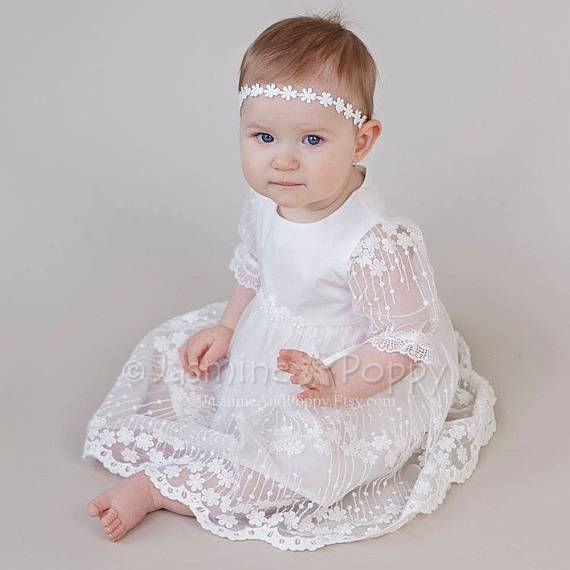 Baby girl christening dress, christening gown, baptism dress, flower ...