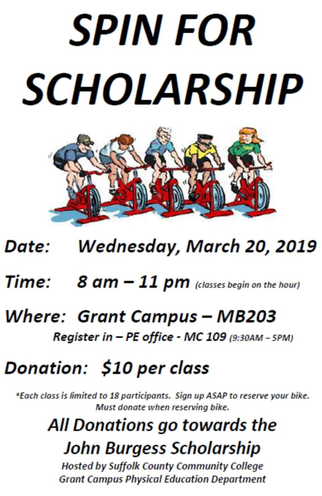 3/20/19 Spin for Scholarship Hosted by Suffolk County