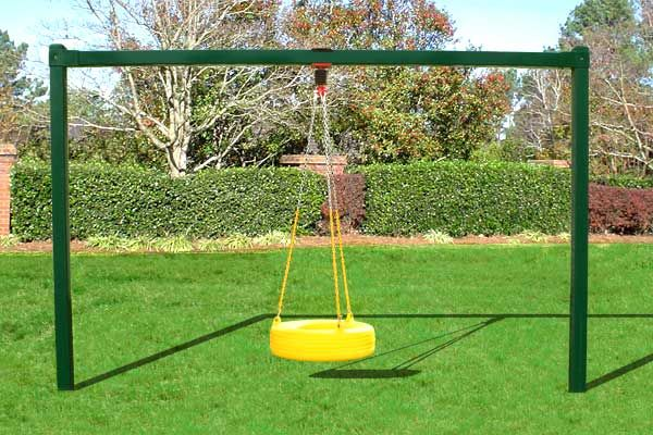 diy swing set frame metal tire swing bay outdoors