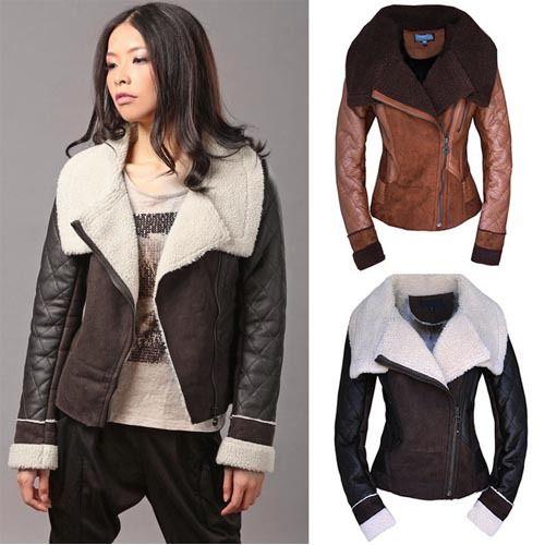 2014 New European Fashion Women Leather Jacket Winter Big Warm ...