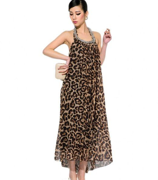 Very Versatile, This Leopard Print Chiffon Maxi Dress Transitions Well From Casual To Formal.
