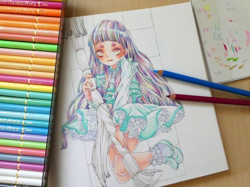 F Id Ofukusuke j Plain 色鉛筆 イラスト 色鉛筆 色鉛筆アート