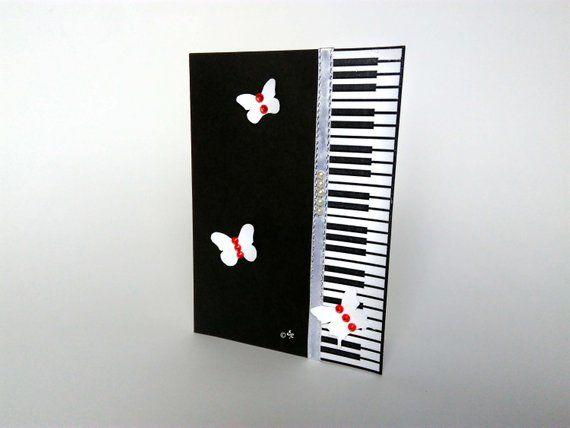 Black Piano Card Music Greeting Birthday Anniversary Gift Musician Teacher