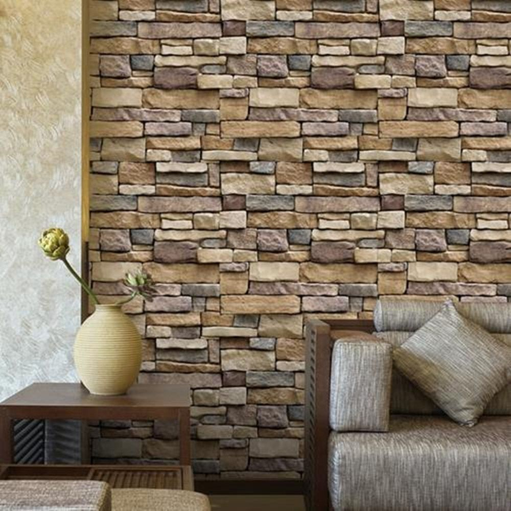 Stone Look Self Adhesive Wallpaper 45x100cm Wall Stickers Brick Brick Wallpaper Living Room Wall Stickers Bedroom