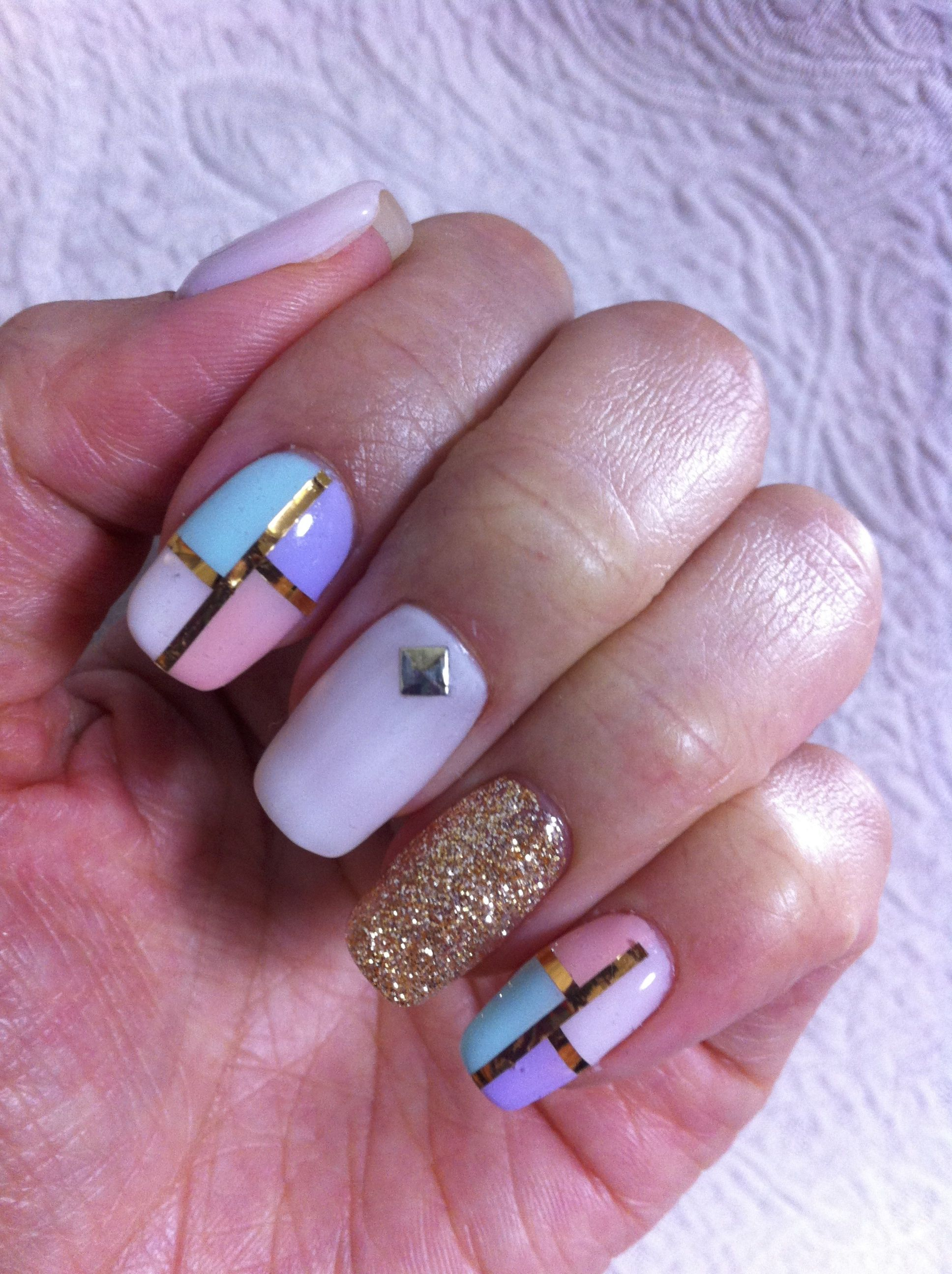 #gelnail #block #white #gold #pink #purple #green #glitter #JPN