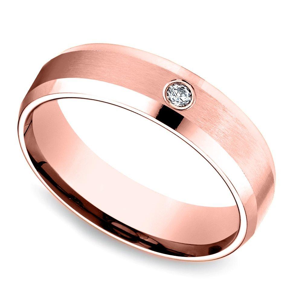 Inset Beveled Men's Wedding Ring in Rose Gold (6mm) Mens