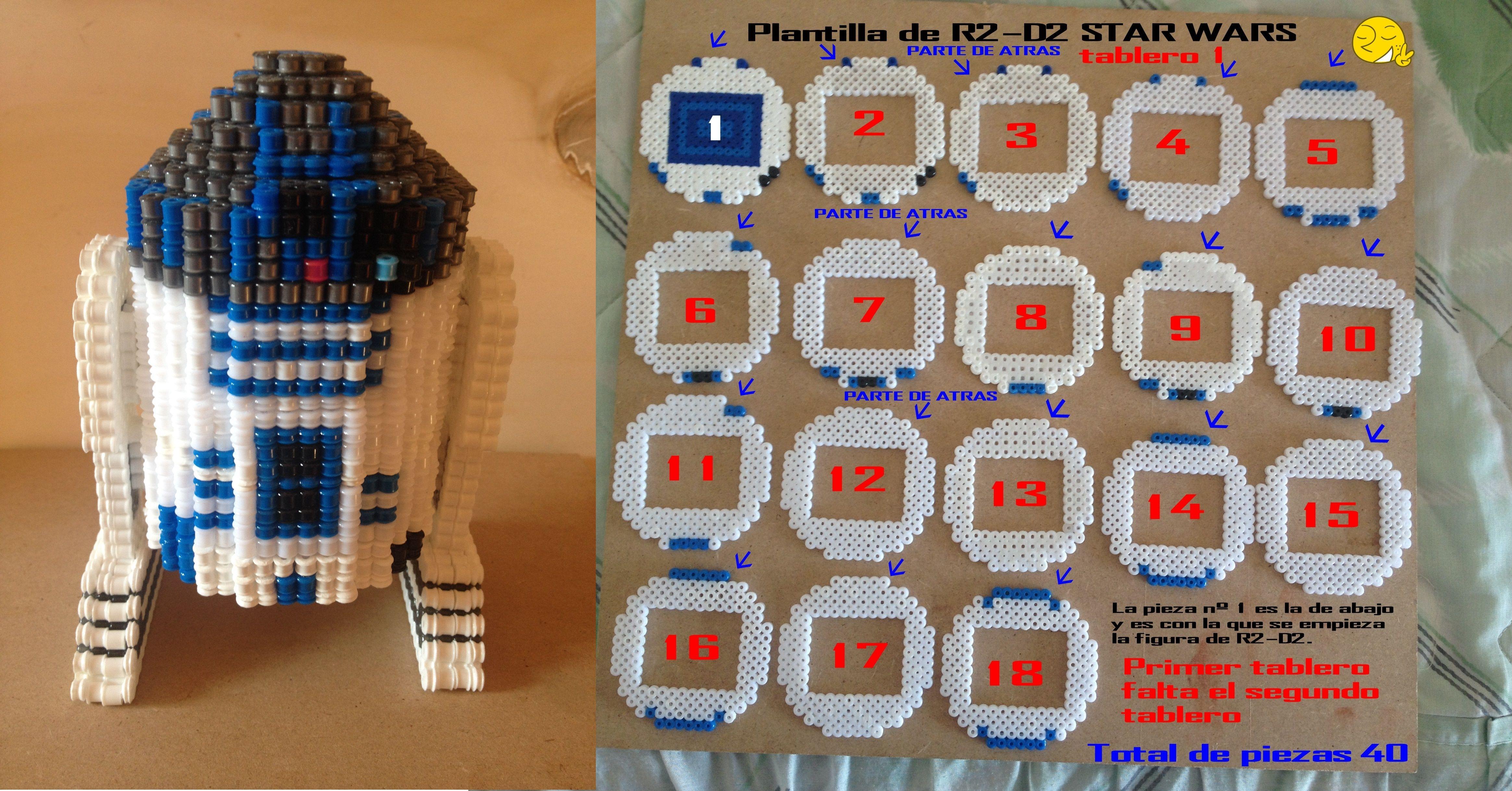 plantilla de hama beads R2 - D2 STAR WARS.Tablero 1.