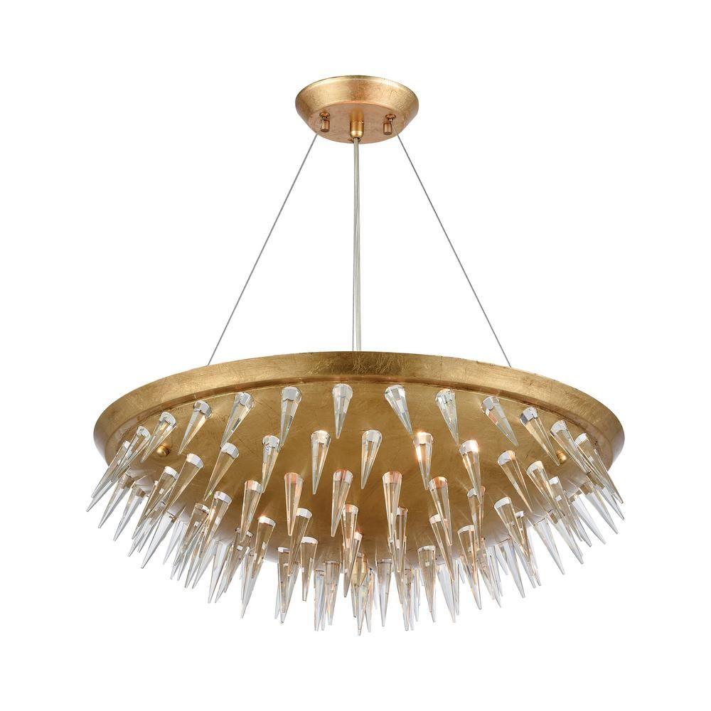Titan Lighting Sting 7 Light Gold Leaf Chandelier Chandelier