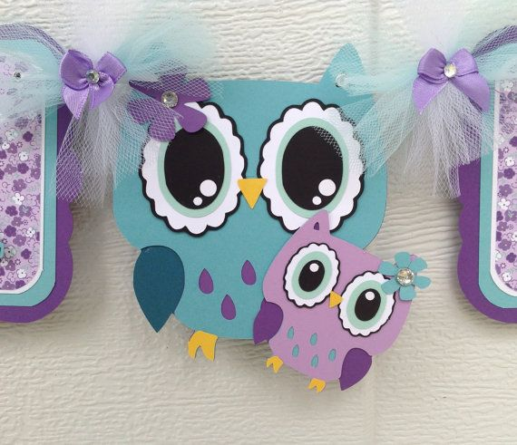 Mama owl and baby owl baby shower banner by for Baby shower ideen
