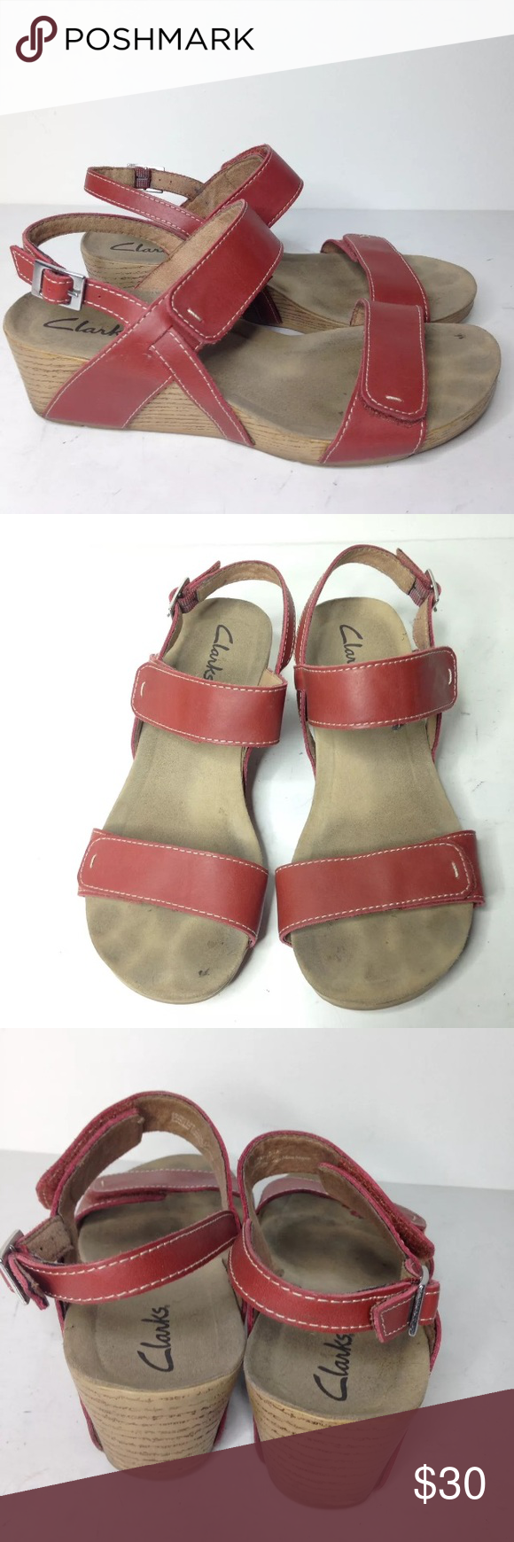 7fe62506cce Clarks red wedge adjustable sandals Alto Disco 7.5 Good used condition