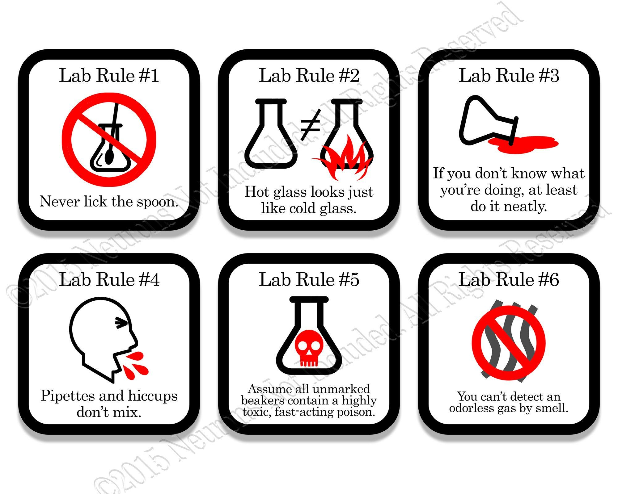 Lab Rules Science Coaster Set 6 piece set Science humor