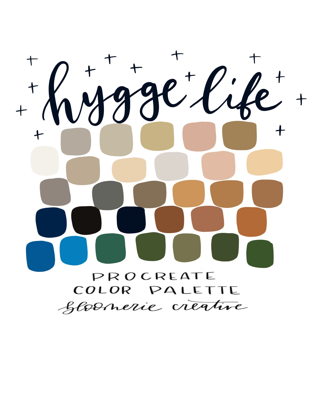 Hygge Life / Fall / Autumn / Cozy / Neutrals / Procreate color palette / Procreate swatches