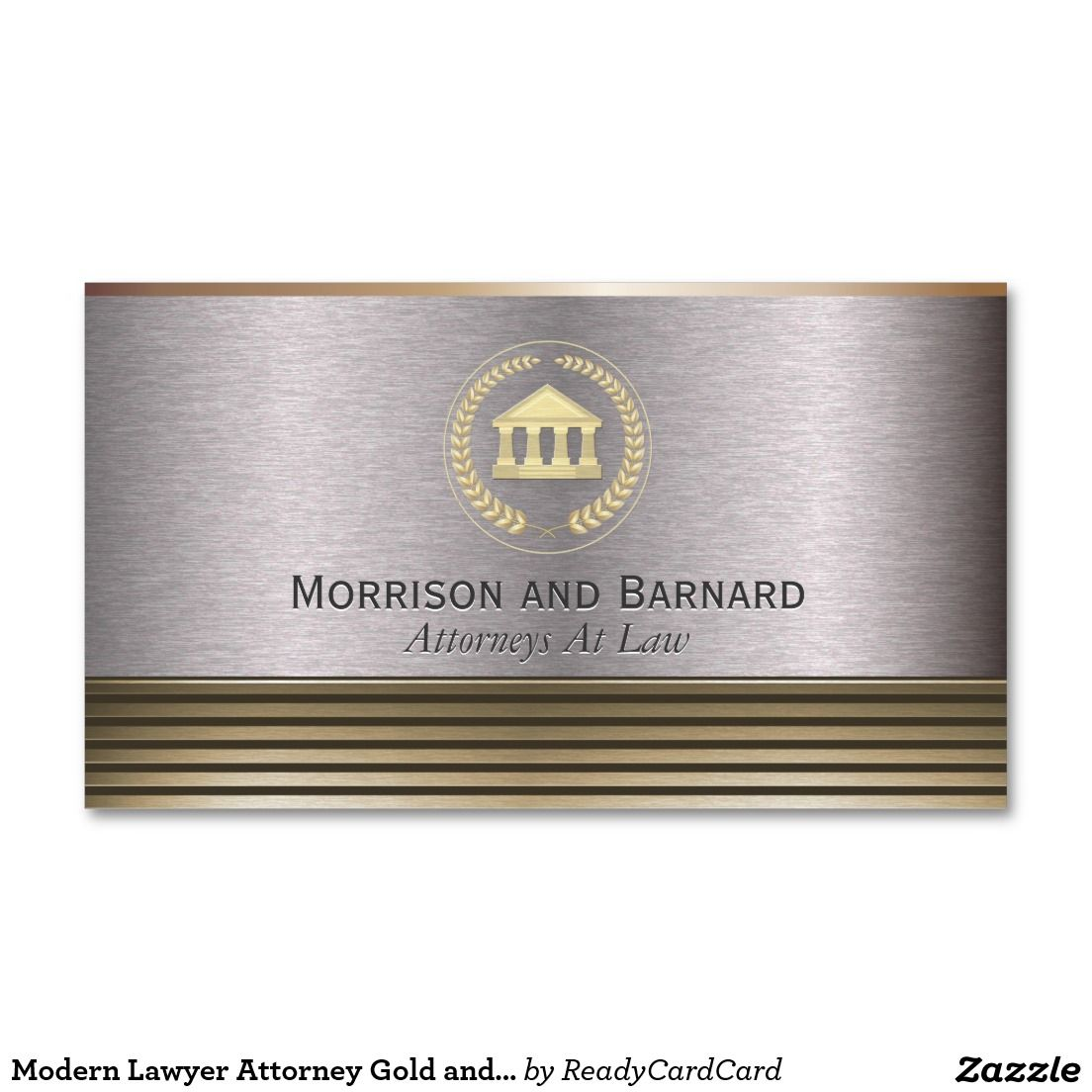 Modern Lawyer Attorney Gold and Silver Courthouse Business Card ...