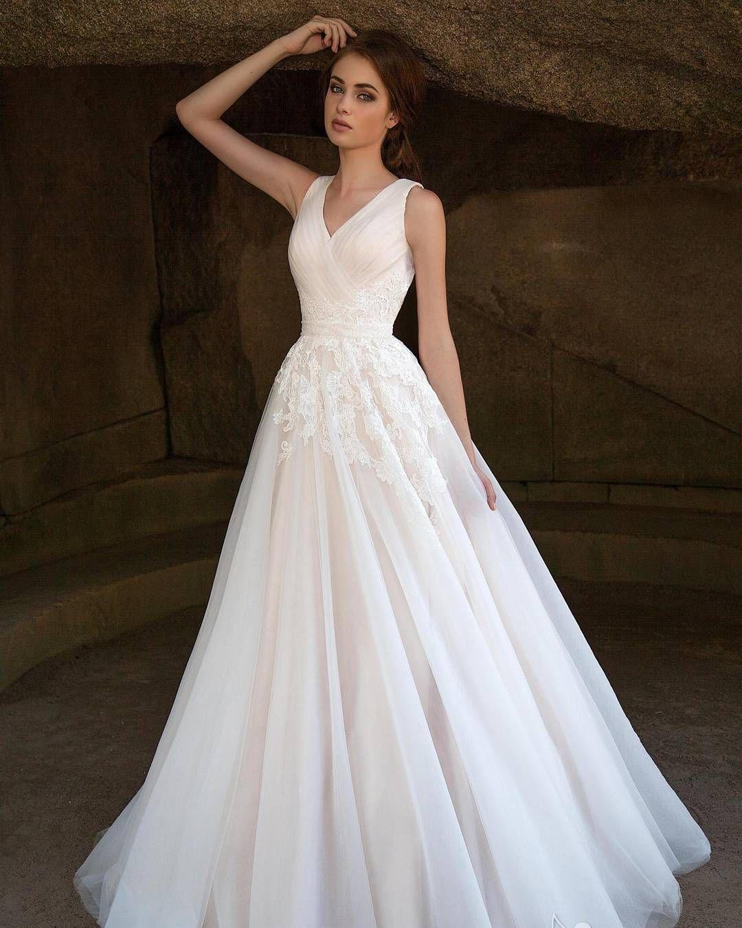 White by Vera Wang Pleated V-Neck Wedding Dress Style VW351318 ...