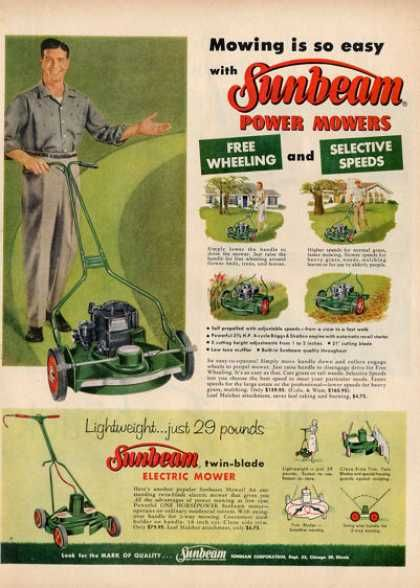 Sunbeam Electric Power Lawnmower Ad T 1957 Outdoor