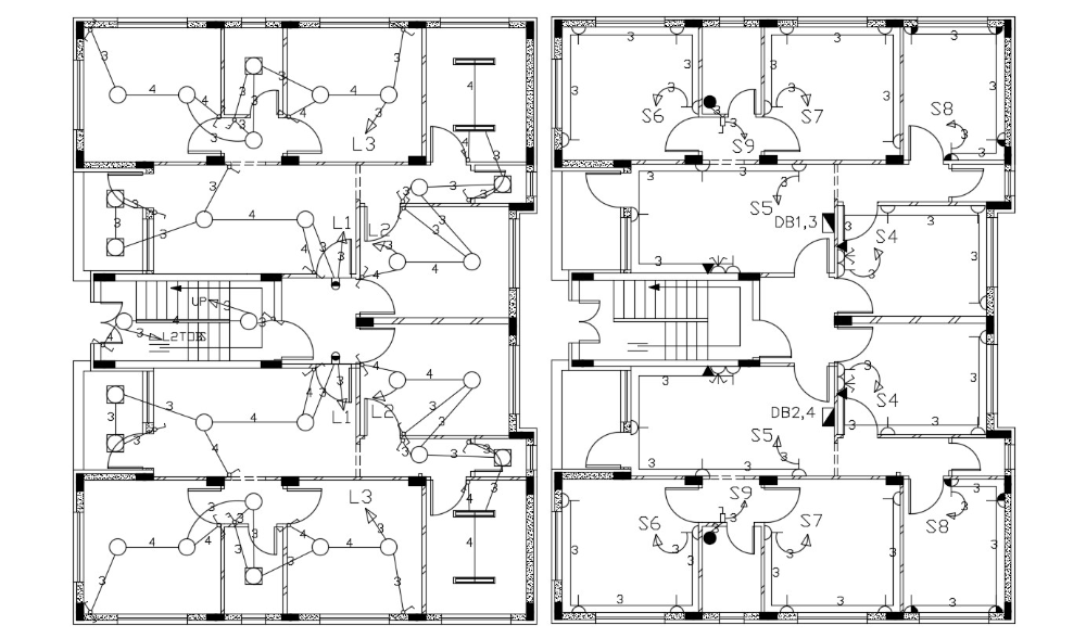 2 BHK Apartment House Electrical Layout Plan Design in