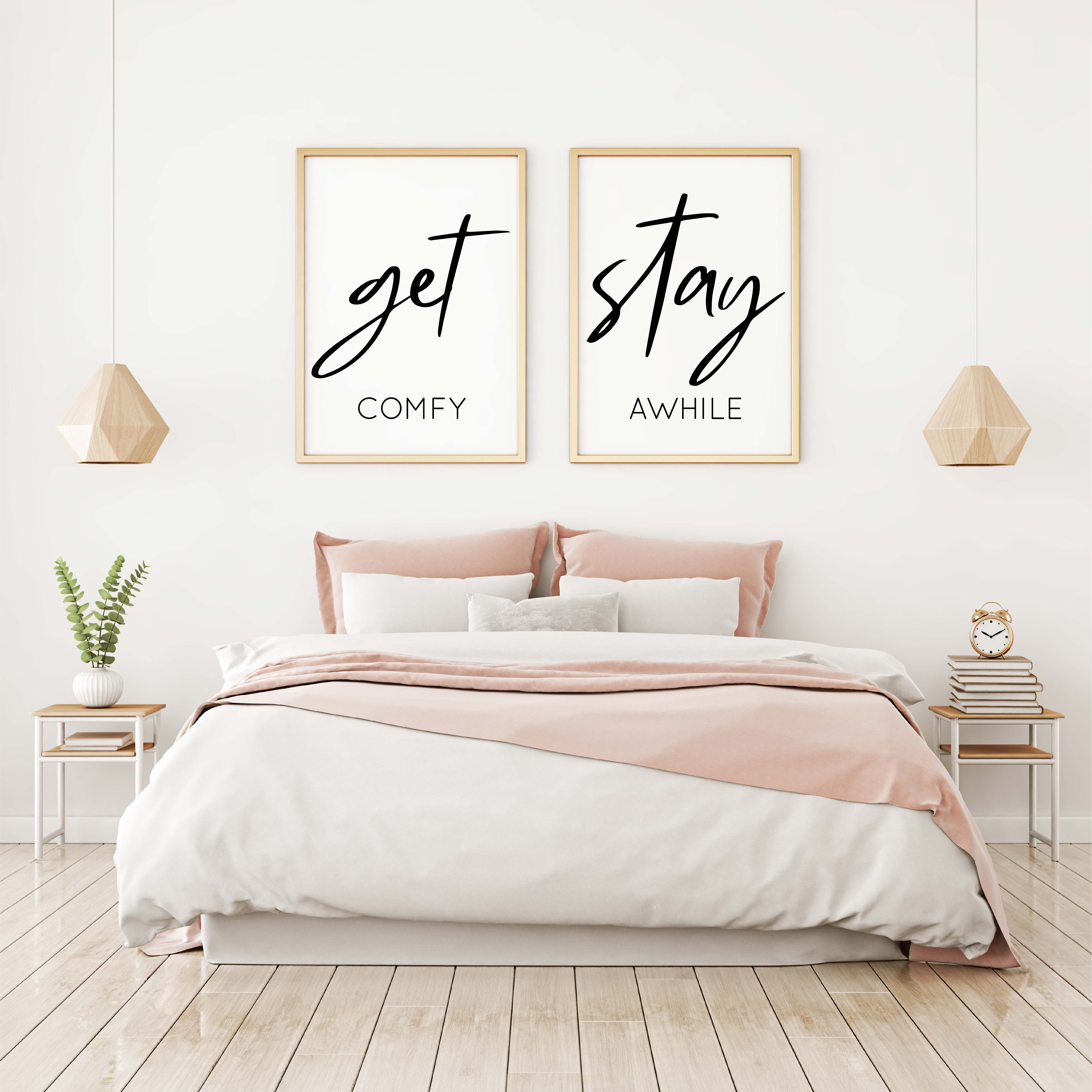 Get Comfy Stay Awhile Set Of 2 Above Bed Art Modern Bedroom Decor Guest Room Decor Guest Room S Printable Wall Art Bedroom Simple Wall Art Bedroom Decor