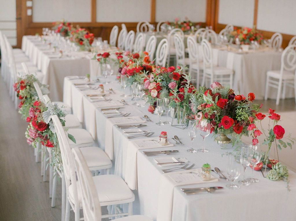 Red And White Themed Wedding Reception Decoration At Hyatt Carmel
