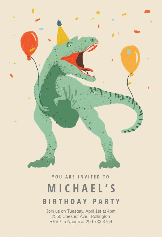 Dinosaur Fiesta Printable Invitation Customize Add Text And