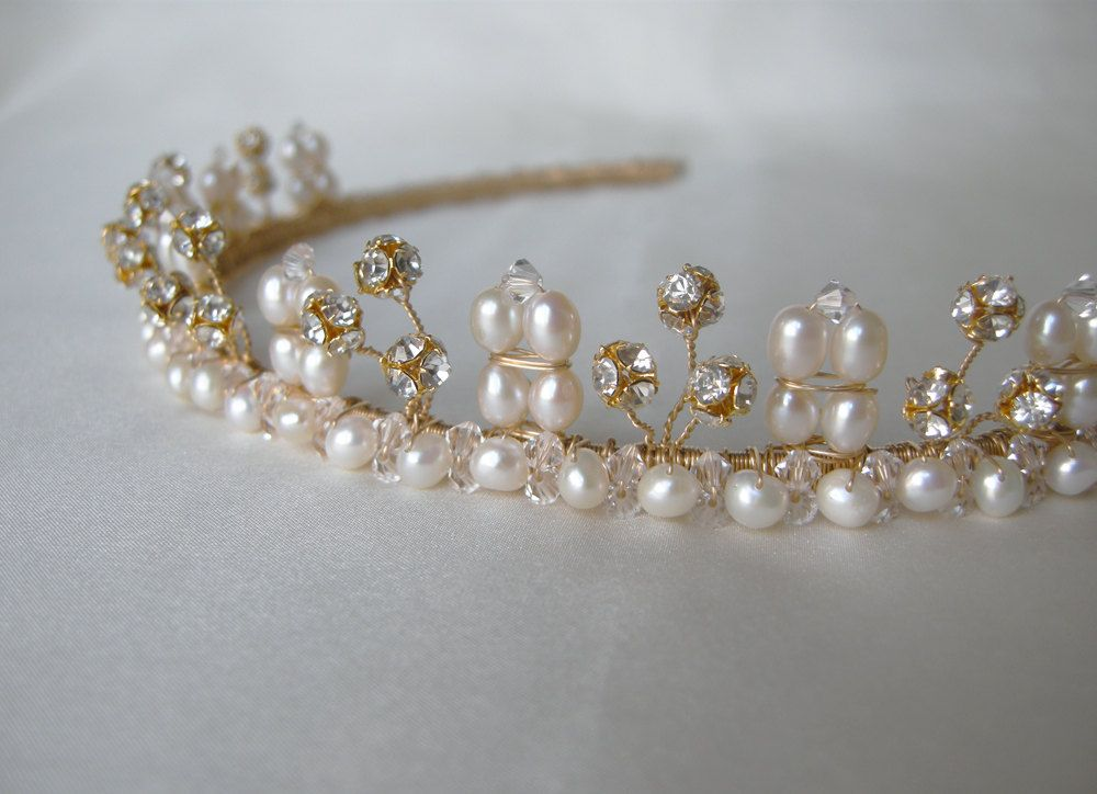 Gold Tiara with pearls and crystals by SabinaKWdesign on Etsy