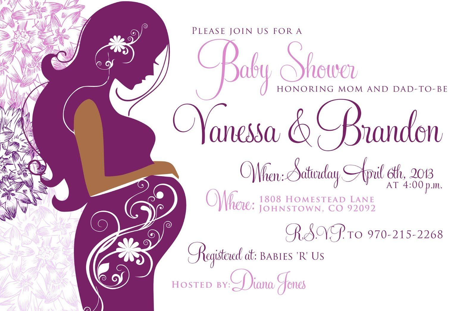 Purple Baby Shower Invitations Background 1 Hd Wallpapers Projects